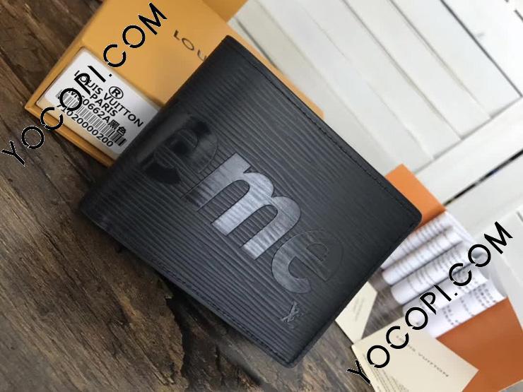 【M67718】 ルイヴィトン シュプリーム 財布 スーパーコピー 「LOUIS VUITTON x SUPREME」 ポルトフォイユ・スレンダー コラボ エピ ノワール 二つ折り財布