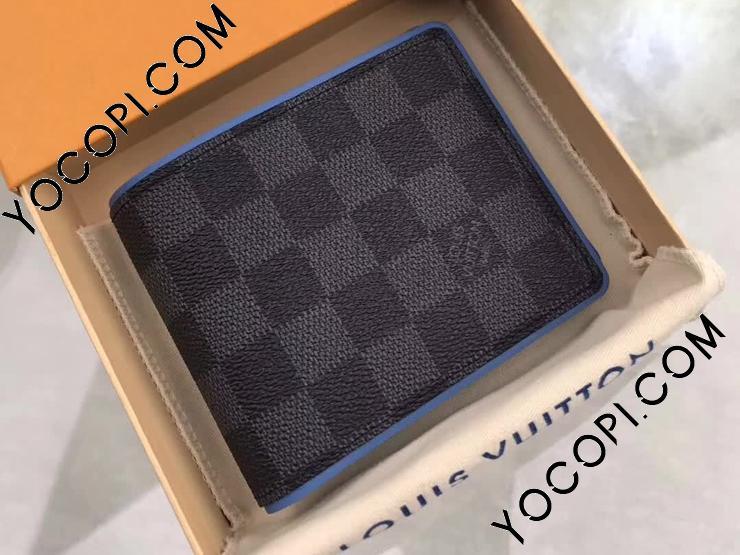 【N64434】 LOUIS VUITTON ルイヴィトン ダミエ・グラフィット 財布 スーパーコピー ポルトフォイユ・ミュルティプル ヴィトン メンズ 二つ折り財布