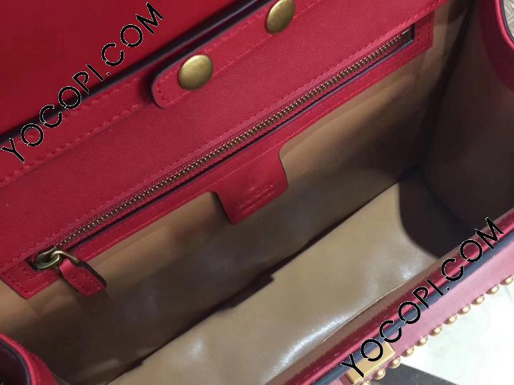 【466434 DT9KX 6373】 GUCCI グッチ バッグ スーパーコピー フォックスヘッドブローチ レザー ハンドバッグ レディース チェーンショルダーバッグ 2色 レッド
