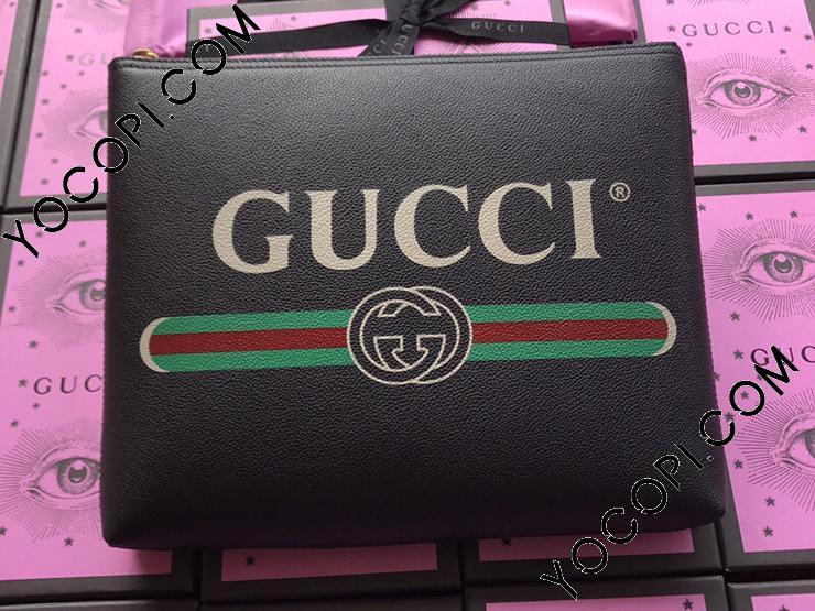 【500981 0GCAT 8163】 GUCCI グッチ バッグ コピー プリント ミディアムサイズ ポートフォリオ レディース クラッチバッグ 3色可選択 ブラック レザー